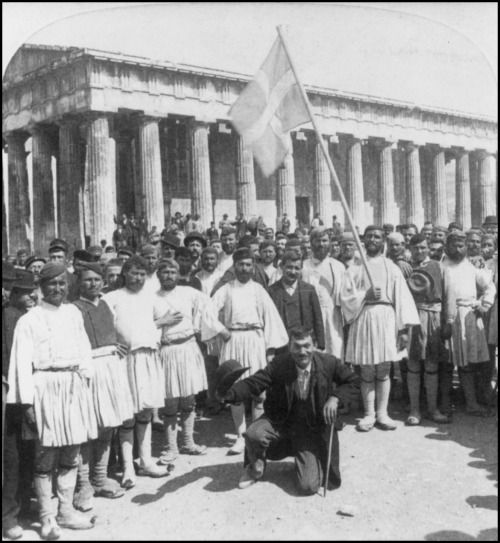 Underwood & Underwood (J.F. Jarvis, publisher) - Greco-Turk. War, 1897 / Recruits for the Army, before the Temple of Theseus, Athens, Greece, c1897