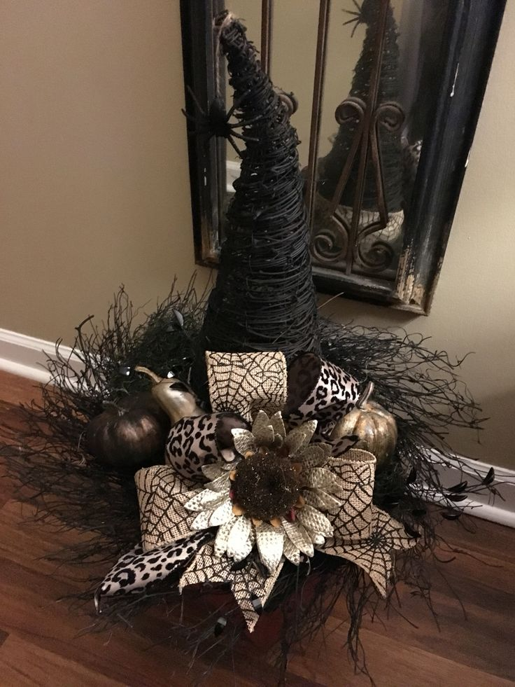 My grapevine witches hat, can be used as a centerpiece or hat for a pumpkin. Soon to be sold on Etsy