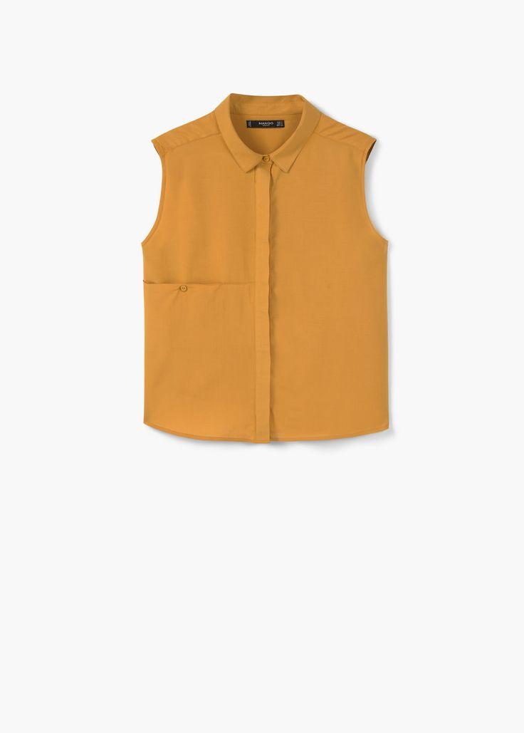 Струящаяся блузка с карманом | MANGO МАНГО