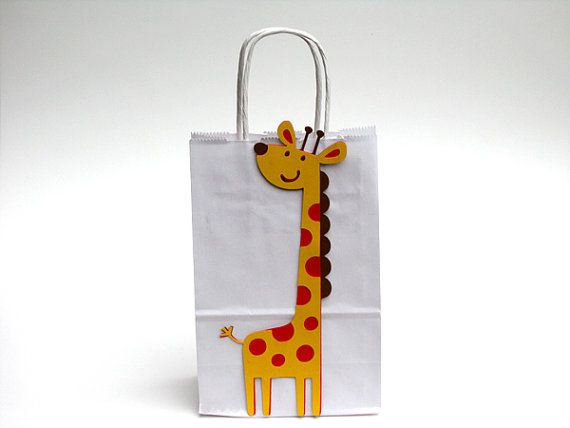 Giraffe Party Favor, Goody, Gift Bags - Jungle Party Baby Shower on Etsy, $30.00