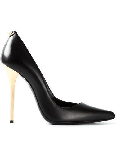 'Black calf leather gold stiletto heel pumps from Versus.'