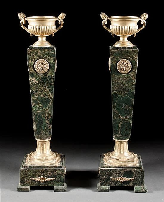 Pair of Louis XV style gilt-metal and green varieg…