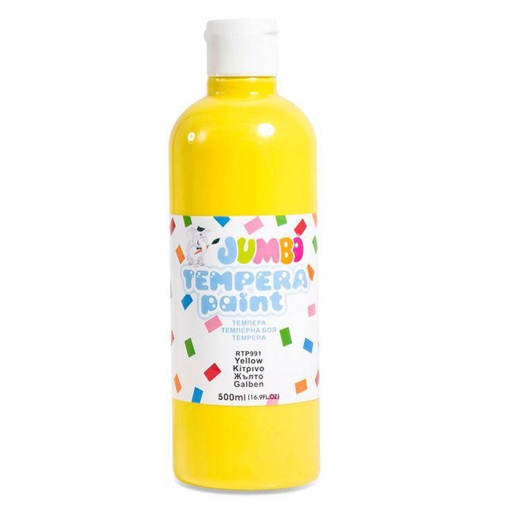 Τέμπερα Μπουκάλι Κίτρινο 500ml  Μη τοξικό. Χρησιμοποιείται σε χαρτί, ξύλο κλπ. Στεγνώνει αφήνοντας ένα μόνιμο σατινές φινίρισμα. Διαλύεται σε νερό.