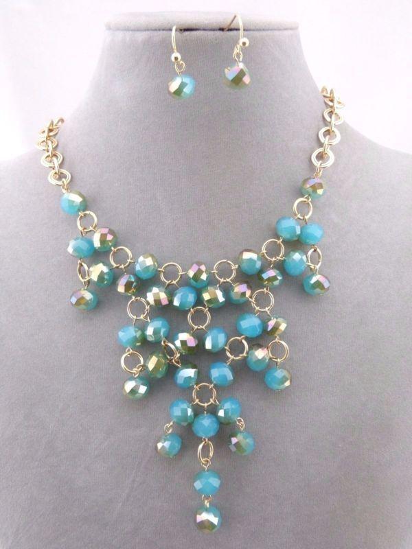 Oro Con Perla Collar Aretes Facetado Azul Set Babero Joyería de Moda Nuevo