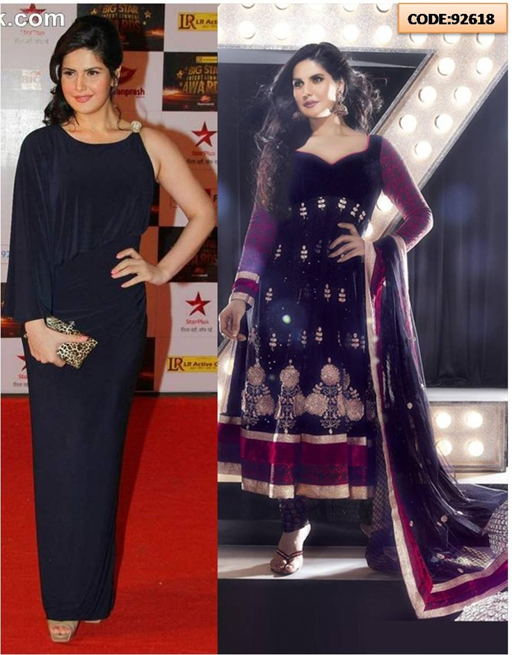 code- 92618    Big Star Entertainment Awards 2012.  Actress Zareen Khan looked her pretty best in a royal blue gown in this event. But don't you think she looks more beautiful in Indian wear.    Get yourself similar Anarkali suit.     #ZareenKhan #Bollywood