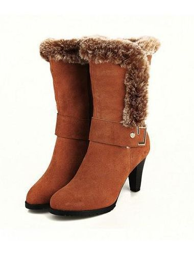 New Fashion Square Chunky Med Heel Rabbit Fur Leather Snow Boots - ecydeal.com