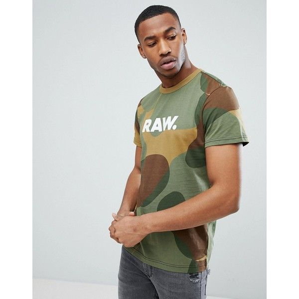 G-Star Zost Logo Camo T-Shirt ($53) ❤ liked on Polyvore featuring men's fashion, men's clothing, men's shirts, men's t-shirts, green, mens camouflage shirts, mens green shirt, mens crew neck t shirts, mens camo t shirt and men's regular fit shirts