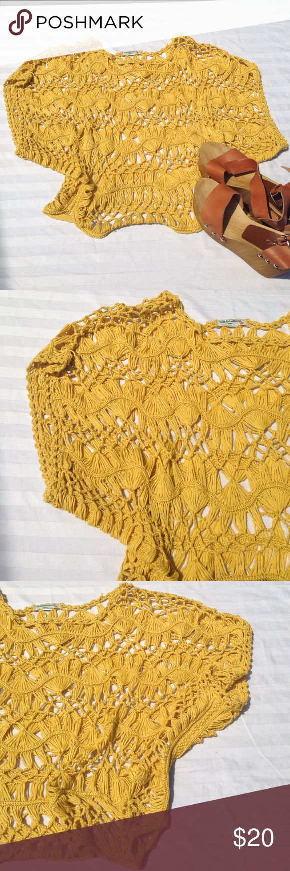 VIVID COLLECTIONS crochet top Light, see through, crochet top. Bohemian feel. Great mustard yellow color. Length - appx 21.  Thank you for visiting my closet. :) Please let me know if you have any questions. Vivid Collections Tops