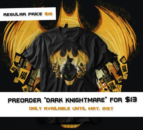"Preorder ""The Dark Knightmare"" T-shirt, V-neck, Hoodie, Sweatshirt or Tank Top until May 21st at www.othertees.com/shop #batman #dc #dccomics #comics #gotham #othertees #joker #brucewayne #preorder"