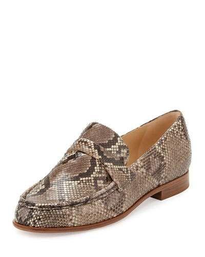 ALEXANDRE BIRMAN PYTHON LOAFER FLAT, GRIO. #alexandrebirman #shoes #flats