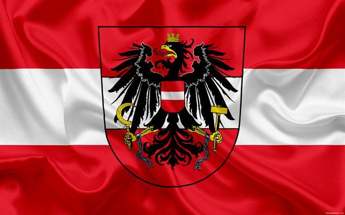 Download wallpapers Austria national football team, emblem, logo, flag, Europe, flag of Austria, football