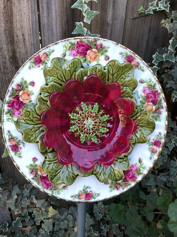 Vintage Plant Decor Gl Flower Plate Garden