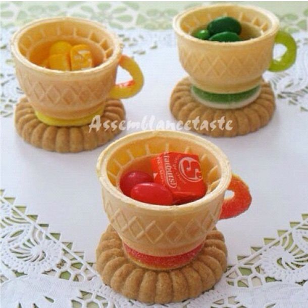 DIY Alice in Wonderland Mad Hatter Tea Party -Instructions to create these edible teacups...wonder if you could bake cupcakes in them....