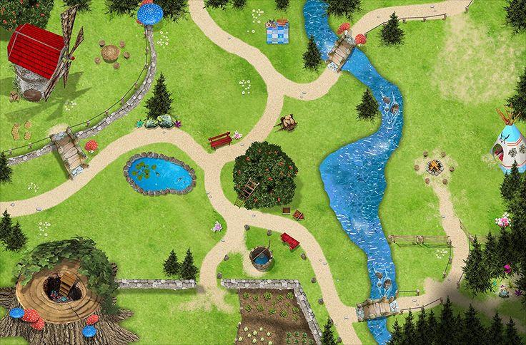 Zauberwald Spielmatte (Spielteppich) für das Kinderzimmer - SM11 - Maße: ca. 150 x 100 cm - Zubehör im Maßstab passend für Schleich, Schlümpfe, Papo, Bullyland: Amazon.de: Spielzeug