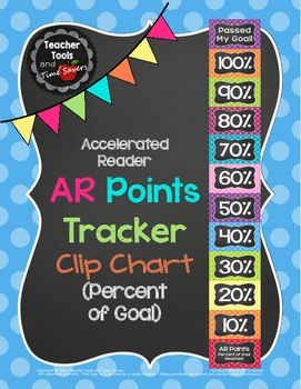 Accelerated Reader (AR) Points - Percent of Goal Clip Chart - Cute Polka DotsBy Teacher Tools and Time SaversThis adorable AR Clip Chart is a simple solution to motivating your students to achieve AR Goals.Directions:Choose the percent values you want on your chart.Print and cut apart the cards.