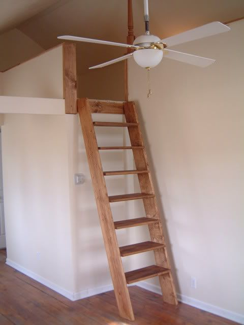 "DIY:  ""The best loft-ladder type that I've built was using two 2x8 stringers & premade 5/4x14 bullnosed stair treads you can get at Lowe's/HomeDepot. I then used Kreg pocket-screws to fasten it all together. I'd say I have about $65 in material & 1.5 hrs labor."""