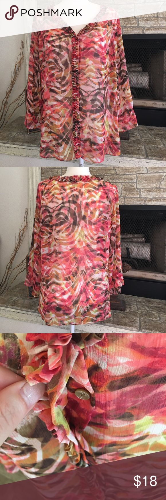 "AK Anne Klein semi sheer top Beautiful multi color design, 100% polyester, machine wash, 22"" armpit to armpit, 27"" shoulder to bottom. Ruffle detail down button line, snap closure at top Anne Klein Tops Button Down Shirts"