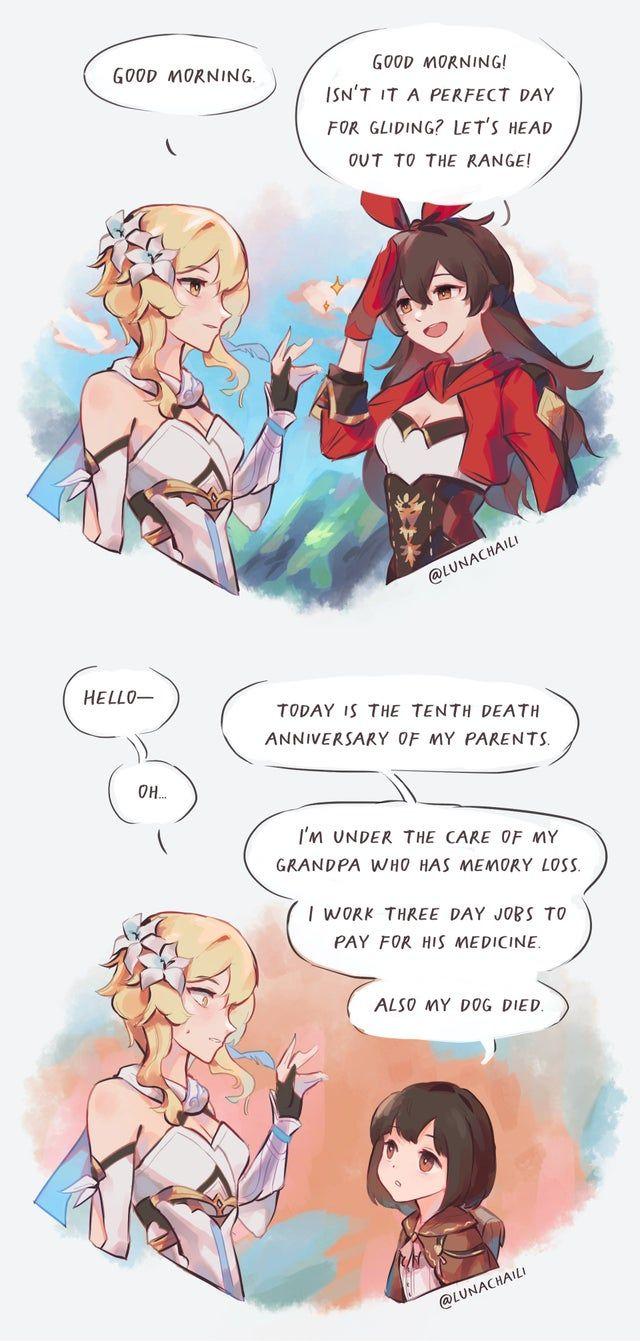 Talking To Pcs Vs Npcs Oc Genshin Impact In 2020 Character Design References Character Design Anime Memes