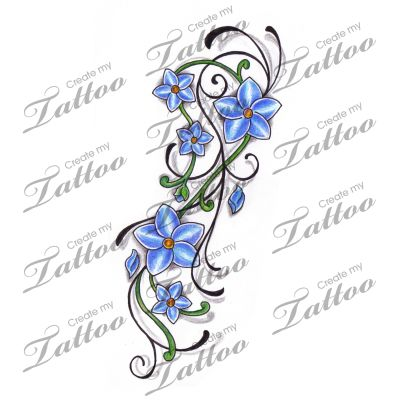Marketplace Tattoo Little Blue Flowers on Vine with Swirls Tattoo #11801 | CreateMyTattoo.com