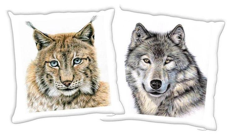 WOLF + LUCHS, 2er Set Kissenbezüge 40x40 cm von Arts & Dogs by Nicole Zeug auf DaWanda.com