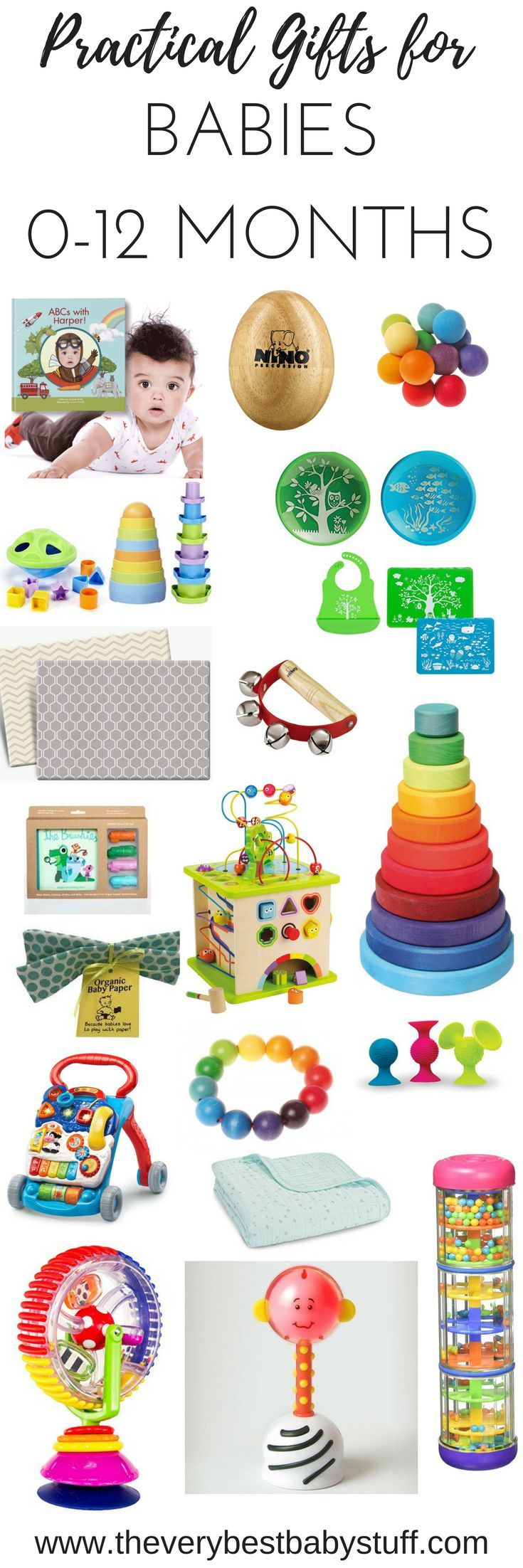 holiday gift guide 2016, baby gifts, gifts for babies, practical baby gifts from The Very Best Baby Stuff.  Hape, Activity Cube, wooden toys, baby walker, vtech, personalized baby book, musical instruments, silicone bib, silicone platemat, pipsquigz, crinkle paper, sassy wonder wheel, baby toothbrush, silicone toothbrush, brushies, parklon playmat, play mat. clutching toy, natural toys, German toys, special baby gifts, personalized baby gifts