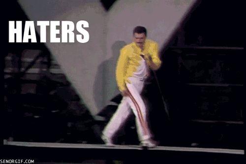 Freddie Mercury onstage doing his signature strut. Only Freddie......