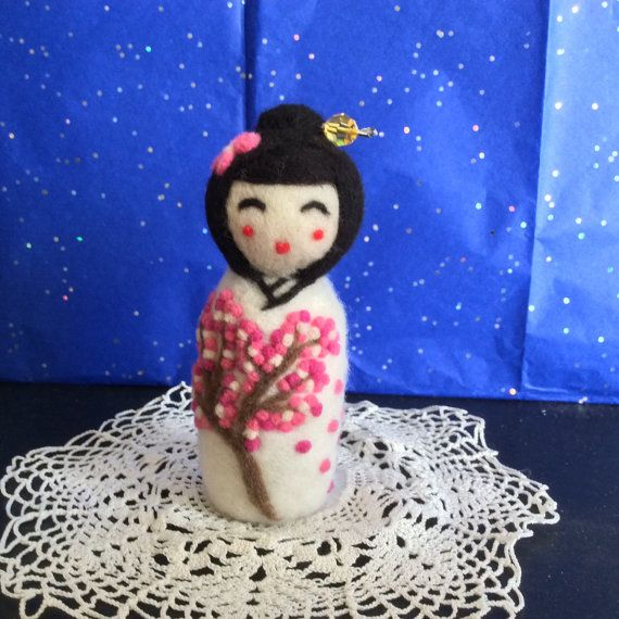 Felted Kokeshi Doll. Handmade Japanese style doll wearing white kimono with Sakura pattern by SweetPeaDolls