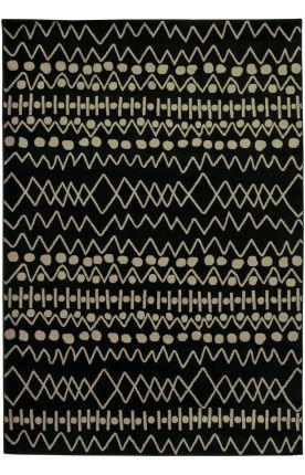Not exactly white but still creates that contrast. I like the patterns feel of inconsistency  Rizzy Rugs Bayside BS3670 Black Rug   Contemporary Rugs
