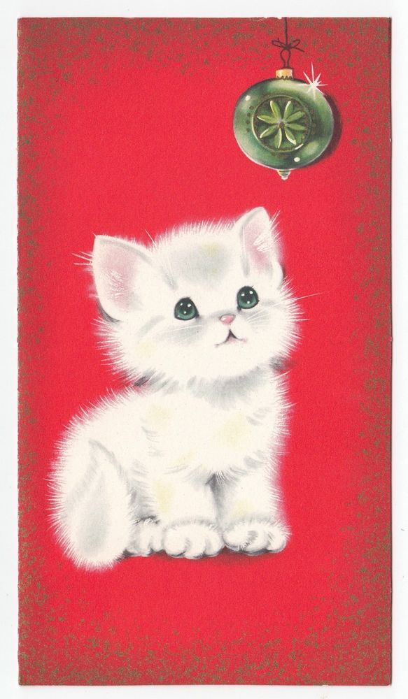 1233 best cat xmas images on pinterest vintage christmas cards vintage greeting card christmas norcross cute kitten cat glass ornament m4hsunfo