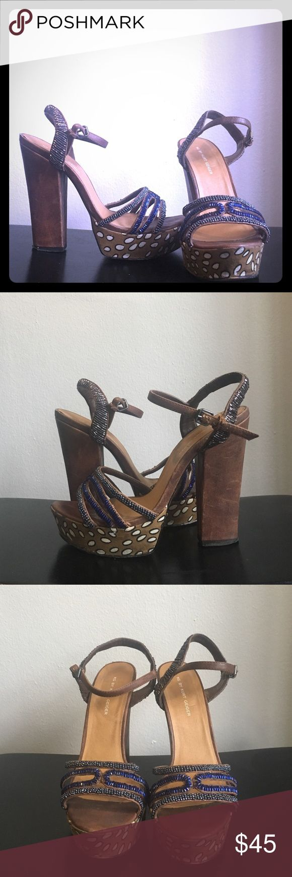 KG by Kurt Geiger heels size 37 Size 37 used heels. Some wear-and-tear on the beading and clasp leather. KG by Kurt Geiger Shoes Heels