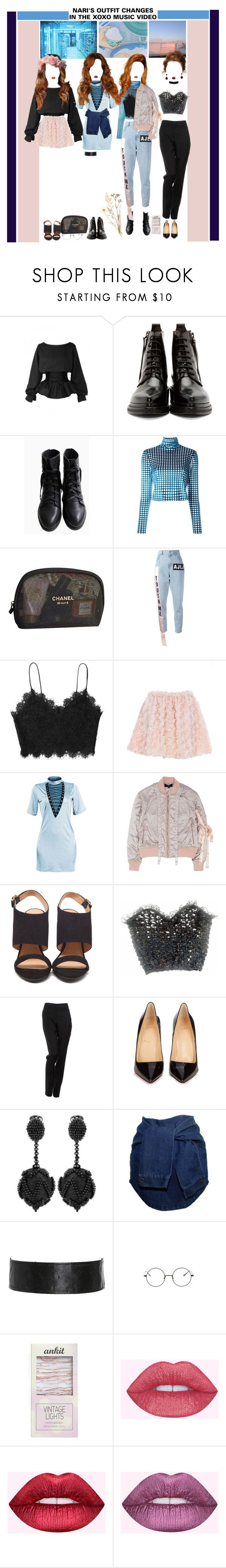 """«OUTFIT CHANGES» XOXO MV [NARI] ROCKIT"" by cw-entertainment ❤ liked on Polyvore featuring Acne Studios, House of Holland, Chanel, Au Jour Le Jour, Nicopanda, Rebecca Minkoff, By Malene Birger, Christian Louboutin, Oscar de la Renta and Streamline NYC"