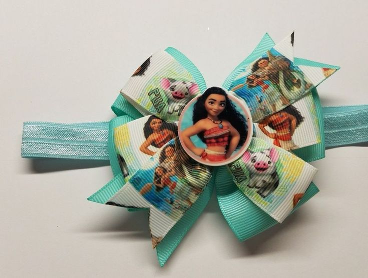"""1 Moana double layer Inspired Hair Bow/Boutique Hair Bows with Headband 4"""" Bow #Unbranded"""
