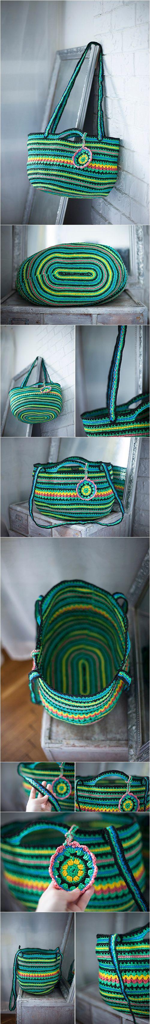 Boho Bag, Rainbow Large Tote, Plarn Bag, Ecofriendly Upcycled Handbag, Shopping Bags, Summer Beach Green Handbag, Multicolored Crochet Purse, Plastic Plarn Bag, #frombabushkashop, shopper, gypsy bag, yoga bag