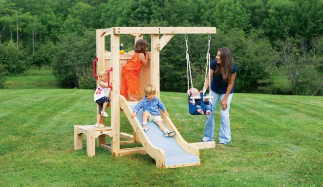 """Frolic 846: My toddler loves to swing and slide, they are just not ready for the big kid stuff. Well look no further than the first stage in the """"growing together"""" Frolic line samples. Start with a toddler-friendly slide, booster step and kid swing and have the perfect foundation to grow the set as your child's needs change and develop."""