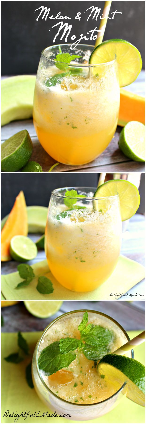 Served icy cold, this refreshing mojito cocktail is perfect on a hot day! Cantaloupe, honeydew, lime and mint make this drink amazing!!  Fantastic for Cinco de Mayo, too! #Delightfulemade #Mojito #Cocktail