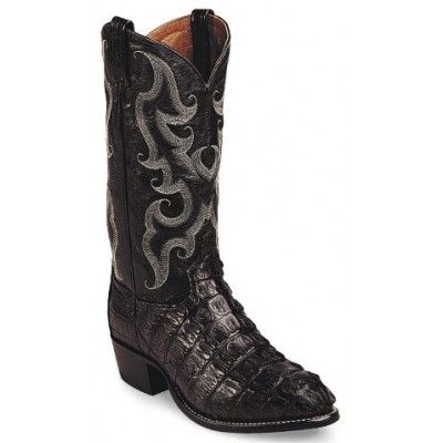 Tony Lama Men's Cowboy Boots Black Royal Hornback Caiman Tail