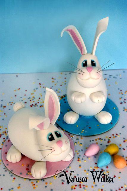 Tutorial #9: Easter Bunny Topper made with Chocolate Easter Egg by Verusca Walker - by Verusca Walker @ CakesDecor.com - cake decorating website