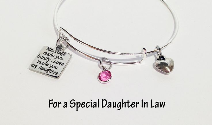 Gift for Daughter In Law, Daughter in Law Gift, Gift for Women, Mother's Day Gift, Charm Bracelet, Adjustable Bangle Bracelet, In Law Gift by SincereImpressions on Etsy