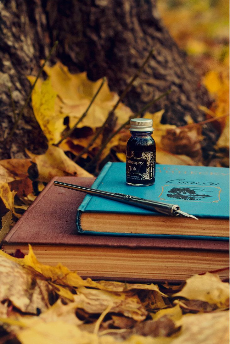 quill pen ink vintage books journals yellow fall autumn leaves