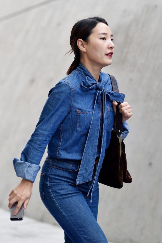 Women's Street Style by #Streetper  #streetper #streetstyle #streetfashion #fashion #fashionstyle #seoul #korea #womenswear #womensfashion #denimondenim #denim