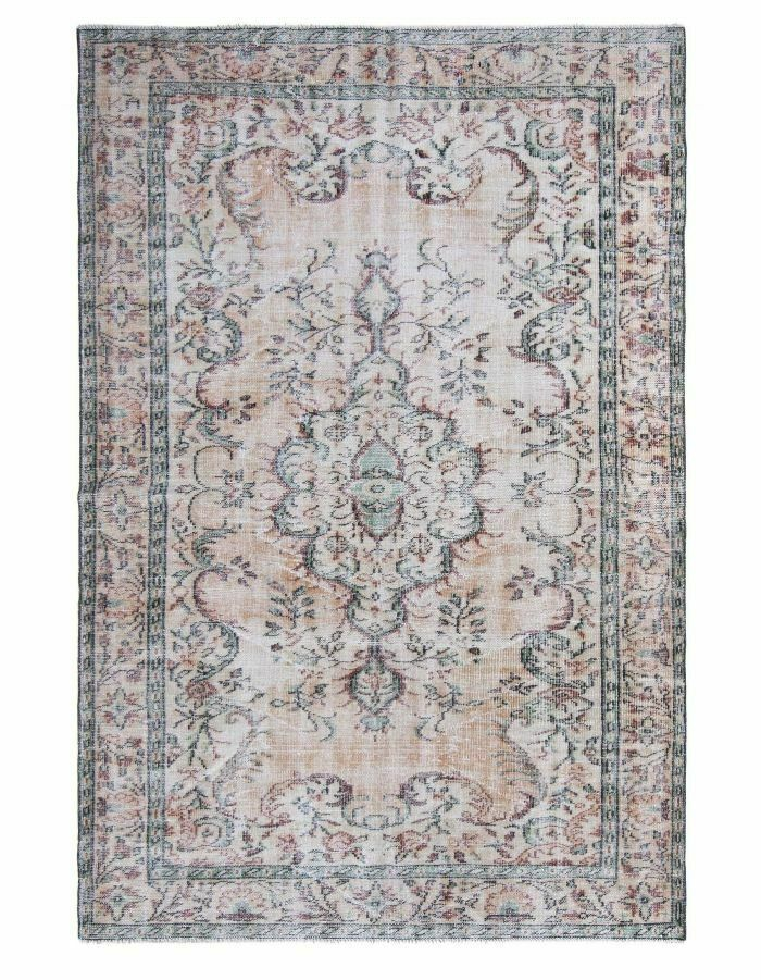 Rug 6x9 Vintage Turkish Area Carpet Unique Green Beige Low Pile