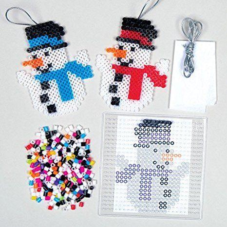 Weihnachtliches Bastelset für Schneemann-Anhänger aus Bügelperlen für Kinder zum Gestalten zu Weihnachten - Kreatives, weihnachtliches Bastelset (6 Stück)