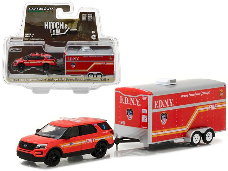 2016 Ford Explorer Official Fire Department NYC (FDNY ) and Special Operations Command Trailer Hitch & Tow Series 10 1/64 Diecast Model Car by Greenlight - Brand new 1:64 scale car model of 2016 Ford Explorer Official Fire Department NYC (FDNY ) and Special Operations Command Trailer Hitch & Tow Series 10 die cast car model by Greenlight. Limited Edition. Detailed Interior, Exterior. Metal Body. Comes in a blister pack. Officially Licensed Product. Dimensions Approximately L-7 Inches Long…