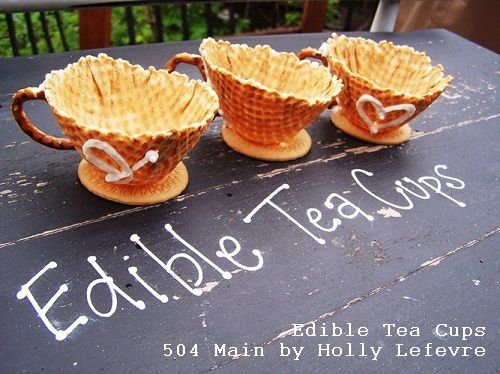 504 Main by Holly Lefevre: Tea Time! Edible Tea Cups.  I want to coat the inside with chocolate, then dip the rim to make a nice swirly design.  The chocolate will slow down leaks, then you can break the bowl apart and nom on chocolate and ice cream cone.  :)