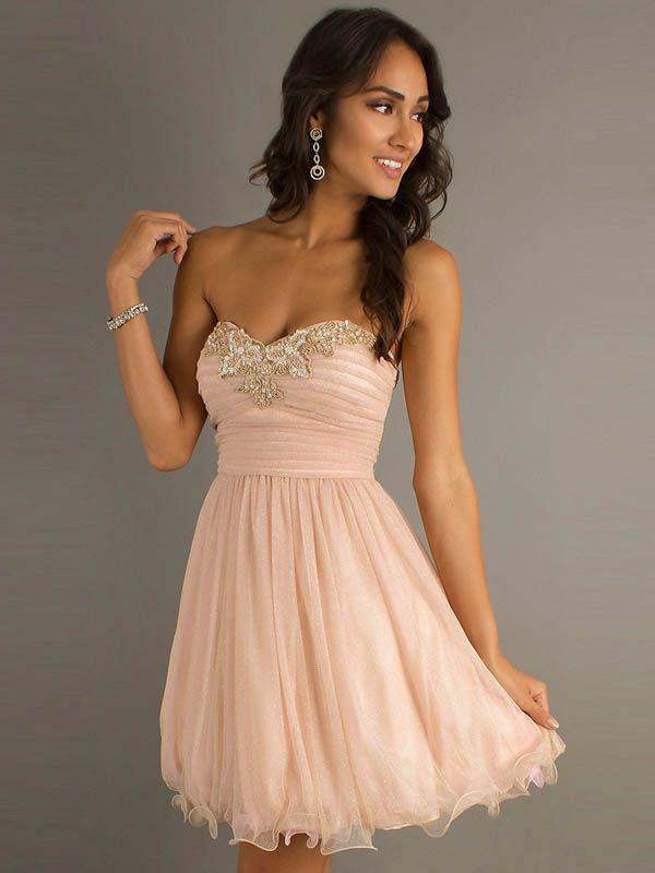 2014 Homecoming Dresses A Line Short/Mini Sweetheart Rhinstones Organza CAD 109.33 LDP9SKZKEG - LovingDresses.com