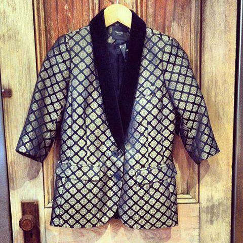 smythe smoking jacket in tile print with velvet collar #schadboutique