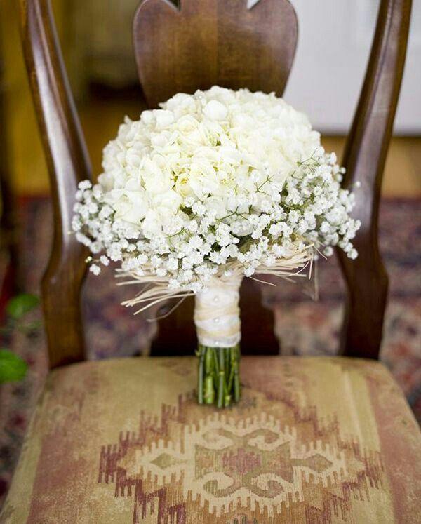 Petite Bouquet Of White Hydrangea, A Few White Roses & Gypsophila****