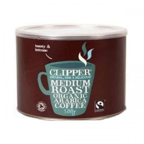 Clipper-Arabica Roast Medium Coffee (500g)Medium roast organic instant Arabica coffee; a toasty and intense blend with a clean finish and a rich aroma. This coffee has been freeze dried without the use of harmful chemicals to achieve a rich, smooth instan