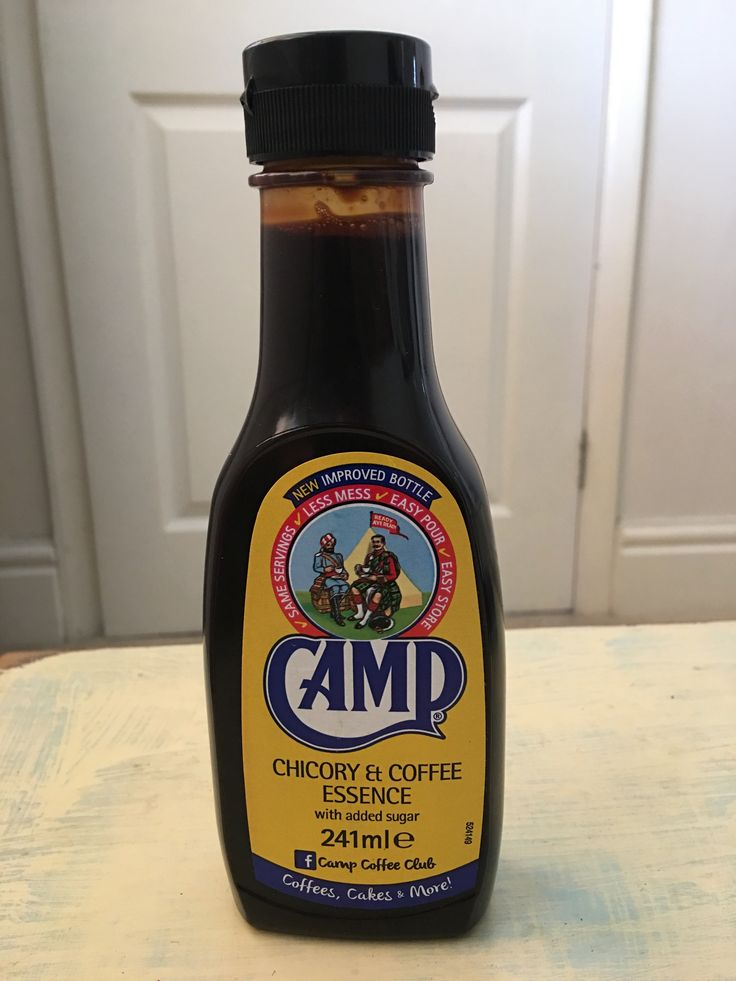 Camp Coffee is produced in the UK. It's a liquid chicory and coffee essence that tastes great as a milk drink used as a substitute for coffee, by mixing with warm milk in much the same way as cocoa or added to cold milk and ice to make an iced coffee,and it is also used as an ingredient in coffee cake and other confectionery. American owned these days.