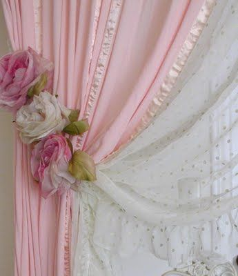 vintage millinery curtain tie back - Brilliant idea for my bedroom! I have the boring silver hooks!